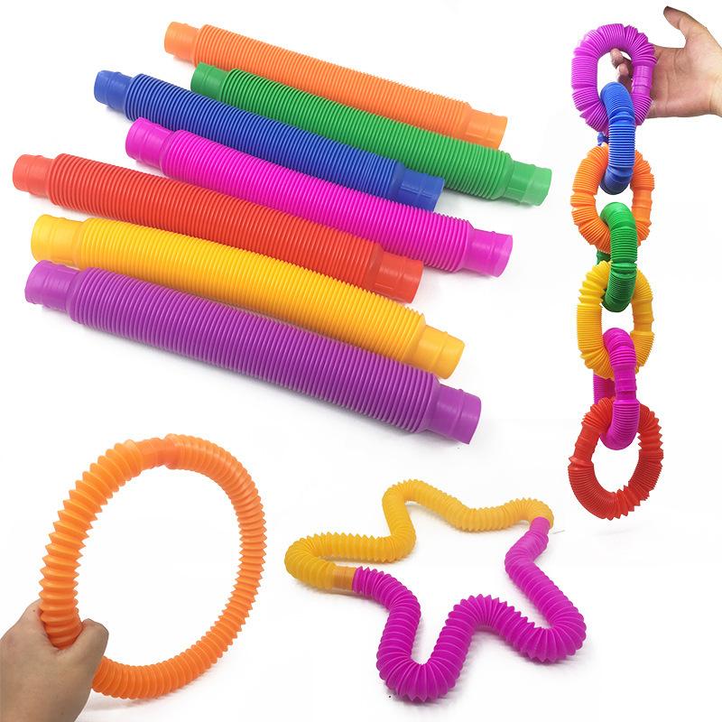 Colorful Plastic Sensory Fidget Pop tubes