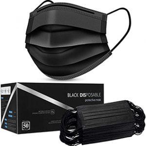 6 Black Disposable Face Masks